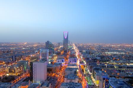 夜のリヤドのスカイライン、サウジアラビアの首都