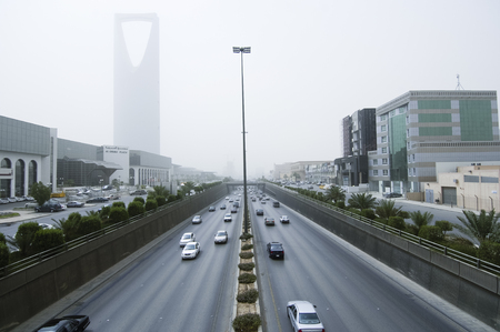 Sand Storm Dramatically Reduces Visibility on King Fahad Road in Riyadh City, Saudi Arabia, 05-02-2006 Editorial