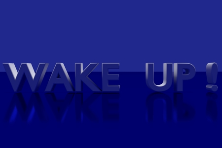 vividly: WAKE UP! plane in 3D Letters on a blue glossy