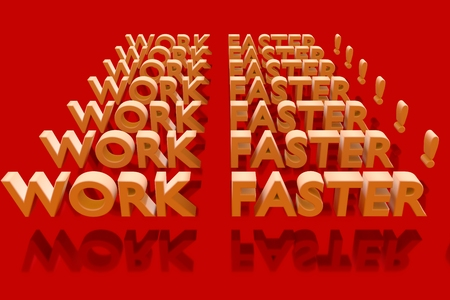vividly: WORK FASTER! plane in 3D Letters on a red glossy
