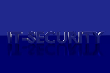 IT SECURITY plane in 3D Letters on a blue glossy