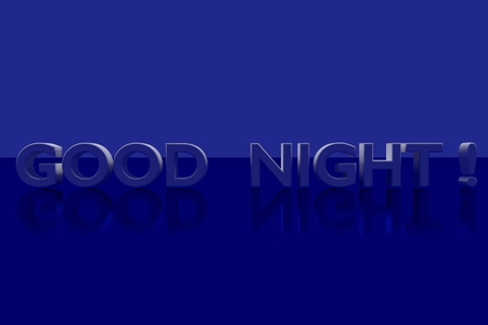 vividly: GOOD NIGHT plane in 3D Letters on a blue glossy Stock Photo