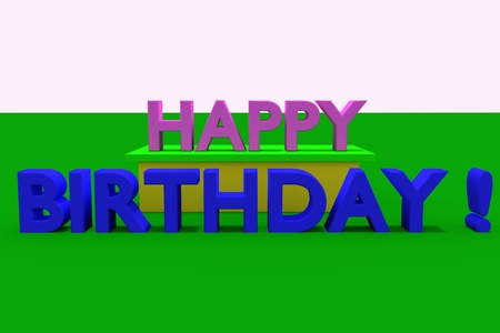 vividly: 3D rendering of HAPPY BIRTHDAY plane in pink and blue 3D letters on a green Stock Photo