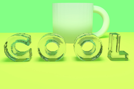 ice surface: 3D rendering of the English word COOL in letters of ice on yellow surface with green background Stock Photo