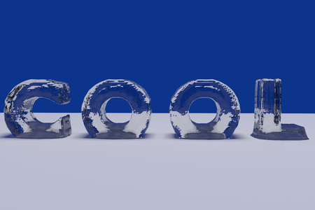 3D rendering of the English word COOL in letters of ice on a white surface with blue background