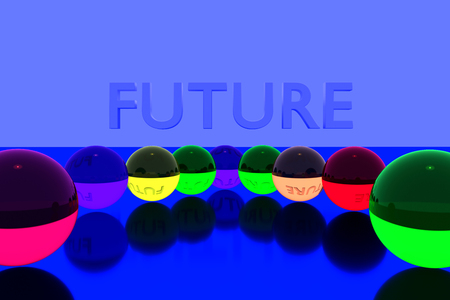 3D rendering of colorful glass balls on reflective surface and the English word FUTURE Stock Photo