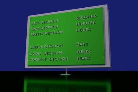 politically: 3D rendering of a green traffic sign standing on a shiny dark green surface: correct decisions cost sometime