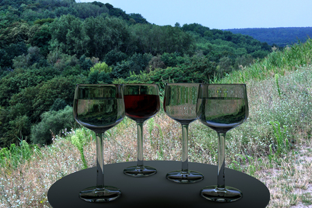 real world: 3D rendering of wine glasses and a real world picture of trees on a sunny day