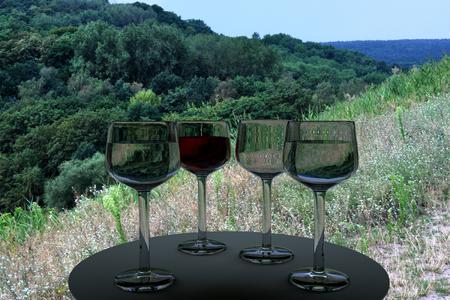 晴れた日にワイングラスと木の実世界の写真の 3 D レンダリング