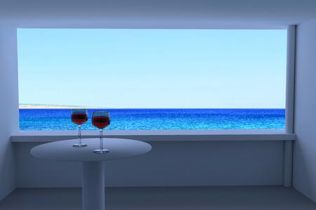 晴れた日にワイングラスと青い海の現実の世界の写真の 3 D レンダリング