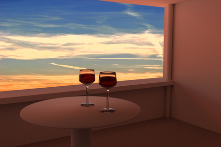 real world: 3D rendering of two wine glasses and a real world picture of the evening sky with some clouds