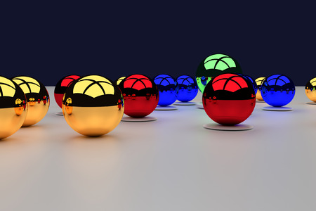 assembly of colorful, glossy balls on a white plane Stock Photo