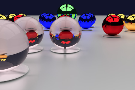 sh: 3d rendering of an assembly of glossy balls on a white surface Stock Photo