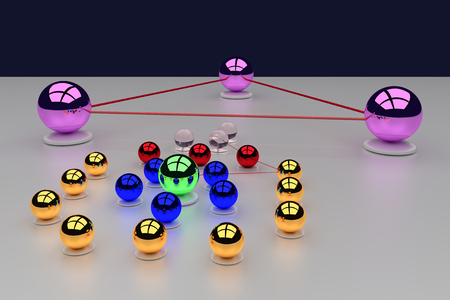sh: 3D rendering of an assembly of glossy balls on a white surface - with three pink big balls: communication