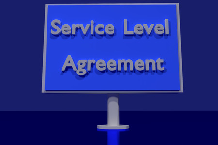 accurately: 3d rendering of a traffic sign with the English words - Service Level Agreement - on a dark blue surface Stock Photo