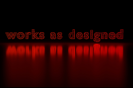 sarcastic: 3D rendering of the words works as designed as a red glowing wireframe on shiny surface