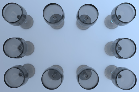 3D rendering of empty wine glasses on a white surface