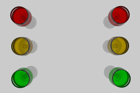 3D rendering of wine glasses with drinks in the colors of traffic lights