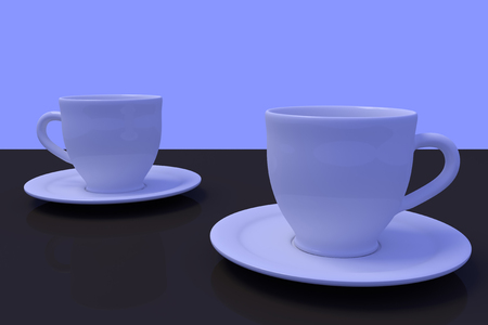 3D rendering of white coffee cups with saucer on a dark reflective surface with light blue background