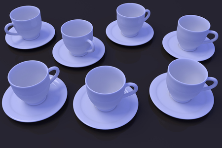 3D rendering of white coffee cups with saucer on a dark reflective surface Stock fotó
