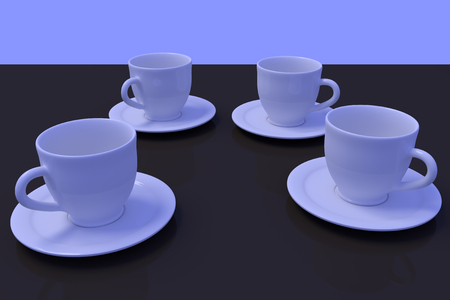 3D rendering of four white coffee cups with saucer on a dark reflective surface with light blue background