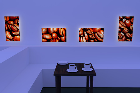 hot surface: 3D rendering of white coffee cups with saucer on a table with a dark reflective surface and pictures of roasted coffee beans