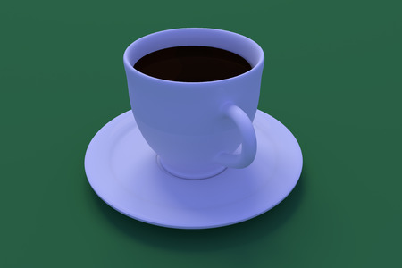 3D rendering of a white coffee cup with saucer on a table Stock fotó