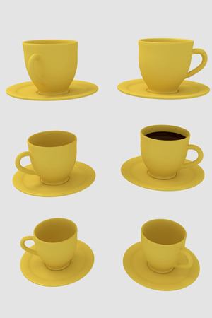 3D rendering of six yellow coffee cups with saucer - isolated on white background Stock fotó