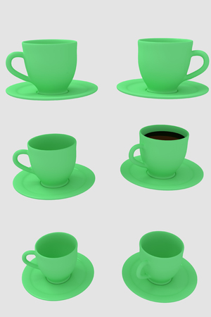 hot surface: 3D rendering of six green coffee cups with saucer - isolated on white background