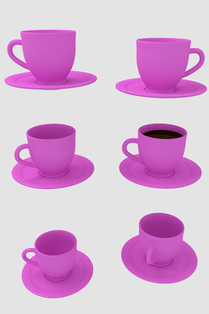 hot surface: 3D rendering of six pink coffee cups with saucer - isolated on white background