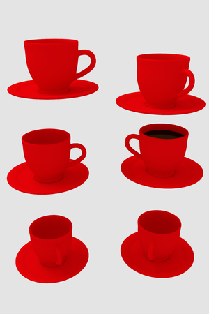 3D rendering of six red coffee cups with saucer - isolated on white background
