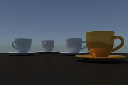 table surface: 3D rendering of three white coffee cups and a single golden coffee cup - with saucer - on a table with a dark reflective surface Stock Photo