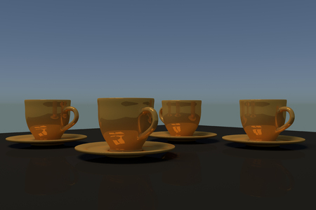 table surface: 3D rendering of four golden coffee cups with saucer on a table with a dark reflective surface