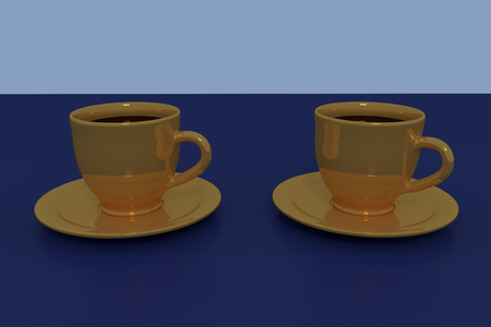 hot surface: 3D rendering of two golden coffee cups with saucer