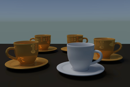 cup four: 3D rendering of four golden coffee cups and a single white coffee cup, with saucer, on a dark reflective surface with light blue background
