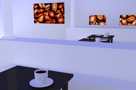 hot surface: hall with tables, white and golden coffee cups and pictures of roasted coffee beans Stock Photo