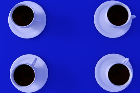 3D rendering of four white coffee cups with saucer on deep blue background