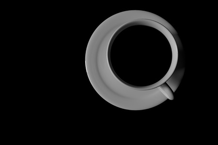 3D rendering of a white coffee cup with saucer on black background