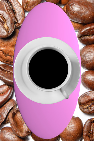 hot surface: 3D rendering of a white coffee cup with saucer standing on a pink board and a real world picture of pretty big, roasted coffee beans as background