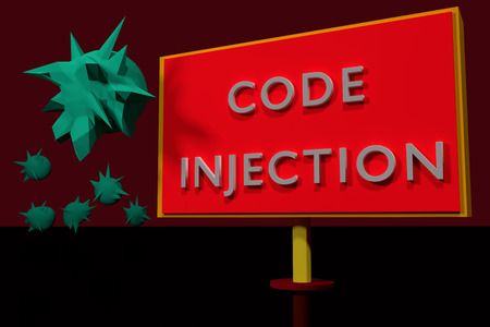 CODE INJECTION and some strange green objects Stock Photo