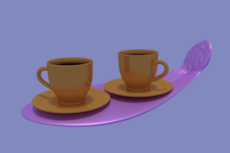 hot surface: 3D rendering of two golden coffee cups on a pink something and a blue background