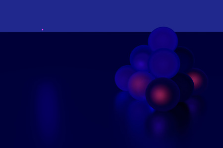 specular: 3D rendering of blue spheres - some glowing reddish - on specular, dark blue surface