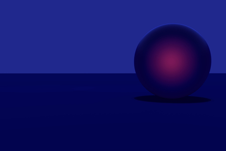 3D rendering of a blue sphere - glowing reddish - on a dark blue surface