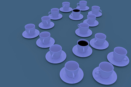 3D rendering of white coffee cups with saucer standing on a green plane
