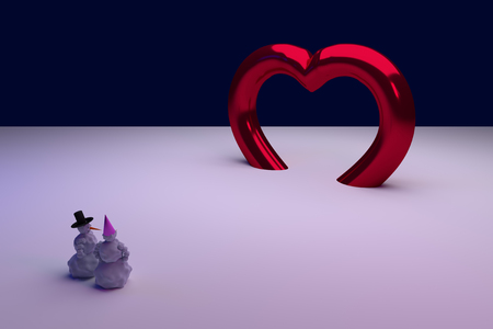 3D rendering of a snowman and his girlfriend: BIG LOVE Stock Photo