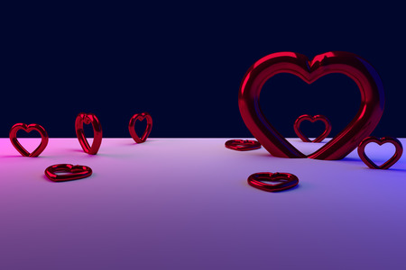 ironic: 3D rendering of red, glossy hearts