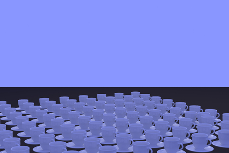 stimulate: 3D rendering of a lot of white coffee cups with saucer