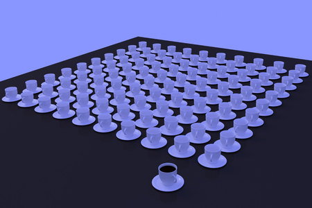 3D rendering of white coffee cups with saucer standing on a glossy plane Stock fotó