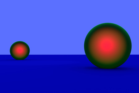 reddish: 3D rendering of green spheres - glowing reddish - on a blue surface