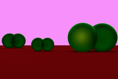 3D rendering of green spheres on a red surface